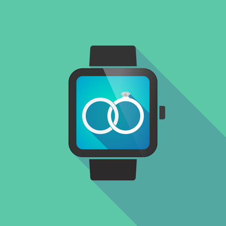 bonded: Illustration of a long shadow smart watch with  two bonded wedding rings Illustration