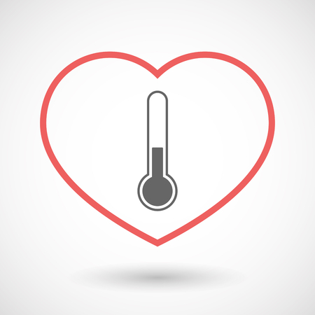 Illustration of an isolated  line art red heart with  a thermometer icon