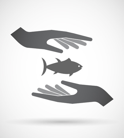 finger fish: Illustration of an isolated pair of hands protecting or giving  a tuna fish