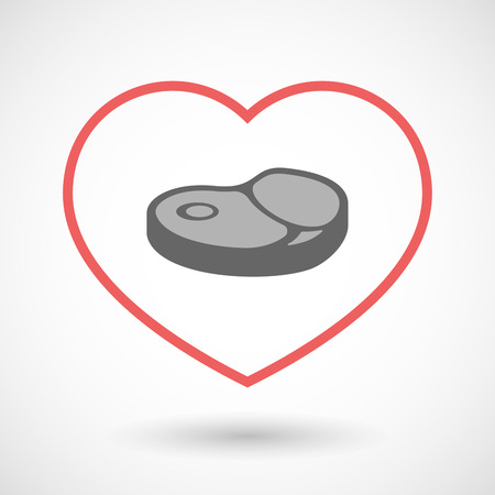 Illustration of an isolated  line art red heart with  a steak icon