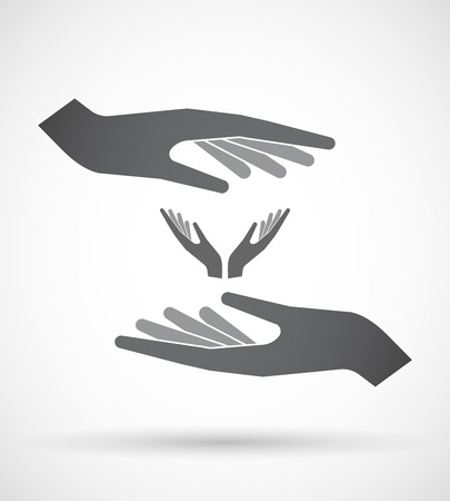 ease: Illustration of an isolated pair of hands protecting or giving  two hands offering Illustration