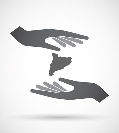 catalonia: Illustration of an isolated pair of hands protecting or giving  the map of Catalonia Illustration