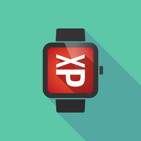 mouth screen: Illustration of a long shadow smart watch with  a Tongue sticking text face emoticon