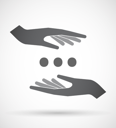 Illustration of an isolated pair of hands protecting or giving  an ellipsis orthographic sign