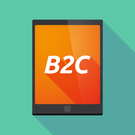 b2c: Illustration of a long shadow tablet PC with    the text B2C