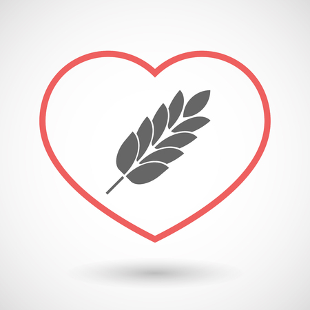 celiac: Illustration of an isolated  line art red heart with  a wheat plant icon