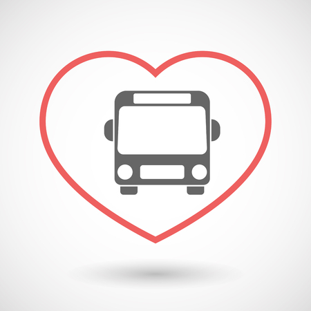 seduce: Illustration of an isolated  line art red heart with  a bus icon Illustration