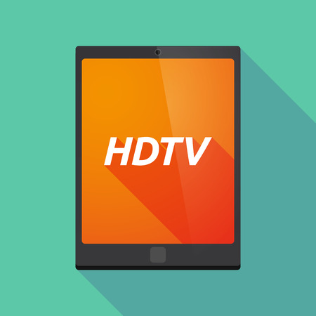 hdtv: Illustration of a long shadow tablet PC with    the text HDTV