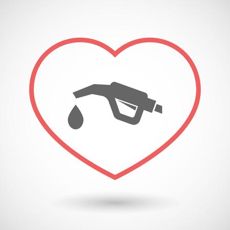 petrol pump: Illustration of an isolated  line art red heart with  a gas hose icon