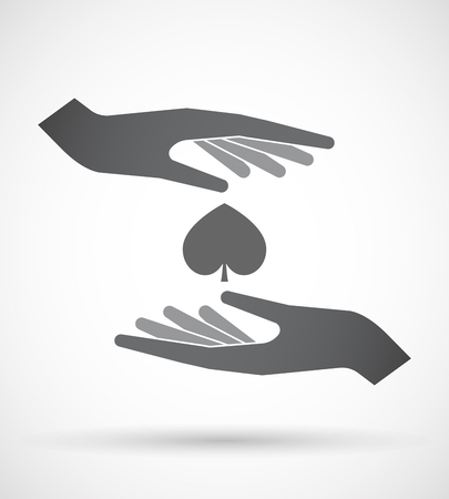 hand holding playing card: Illustration of an isolated pair of hands protecting or giving  the  spade  poker playing card sign