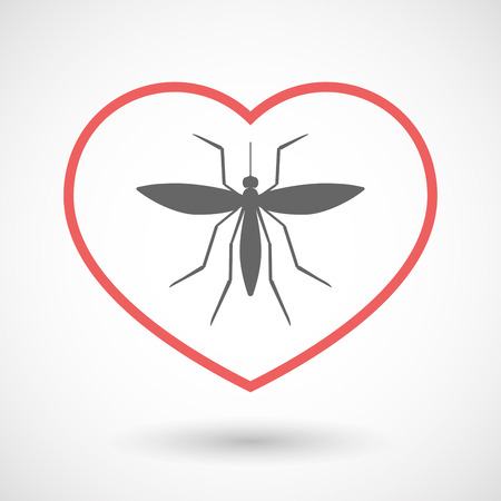 seduce: Illustration of an isolated  line art red heart with  a mosquito