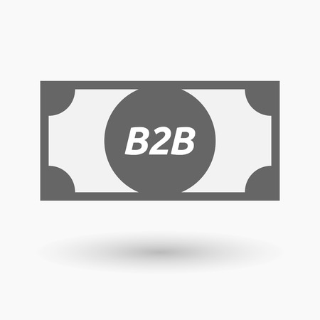 b2b: Illustration of an isolated bank note icon with    the text B2B
