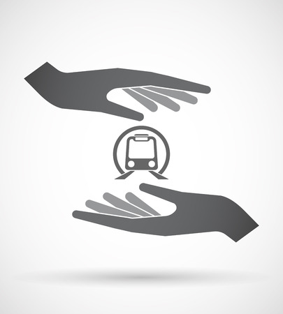 Illustration of an isolated pair of hands protecting or giving  a subway train icon