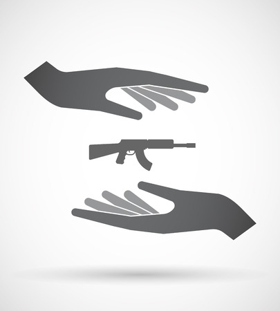 Illustration of an isolated pair of hands protecting or giving  a machine gun sign Illustration