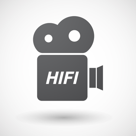 hifi: Illustration of an isolated film camera icon with    the text HIFI