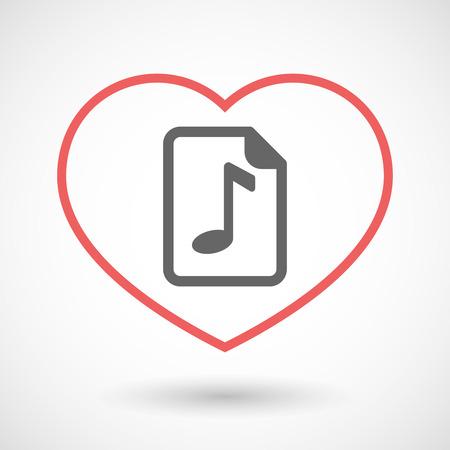 partition musique: Illustration d'un coeur rouge d'art isolé ligne avec une icône de partition Illustration