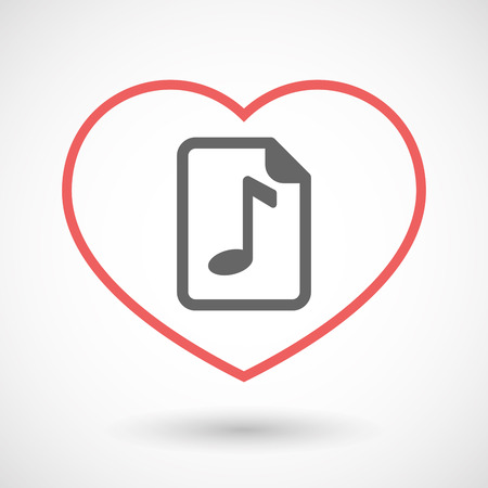 music score: Illustration of an isolated  line art red heart with  a music score icon