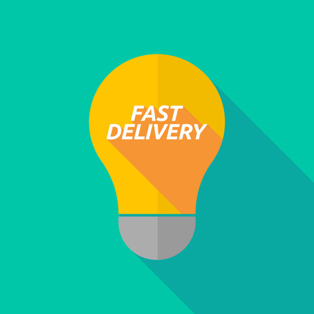ight: Illustration of a long shadow ight bulb icon with  the text FAST DELIVERY Illustration