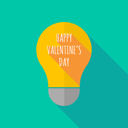ight: Illustration of a long shadow ight bulb icon with    the text HAPPY VALENTINES DAY Illustration