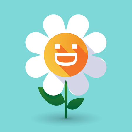 Illustration of a long shadow daisy flower with a laughing text face