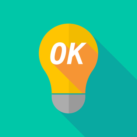 ight: Illustration of a long shadow ight bulb icon with    the text OK Illustration