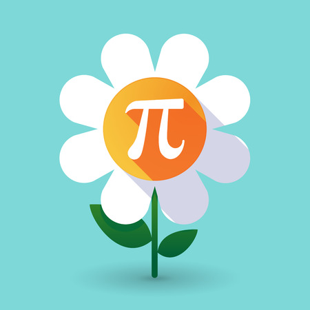 Illustration of a long shadow daisy flower with the number pi symbol