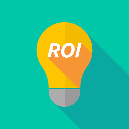 ight: Illustration of a long shadow ight bulb icon with    the return of investment acronym ROI