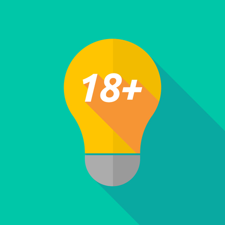 ight: Illustration of a long shadow ight bulb icon with    the text 18+