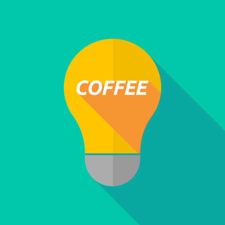 ight: Illustration of a long shadow ight bulb icon with    the text COFFEE