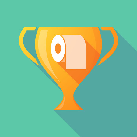 absorbent: Illustration of a long shadow gold award cup with a toilet paper roll Illustration