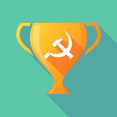Illustration of a long shadow gold award cup with  the communist symbol