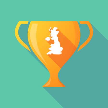 Illustration of a long shadow gold award cup with  a map of the UK Illustration