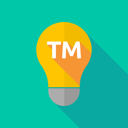 Illustration of a long shadow ight bulb icon with    the text TM