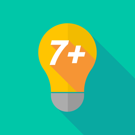 ight: Illustration of a long shadow ight bulb icon with    the text 7+ Illustration