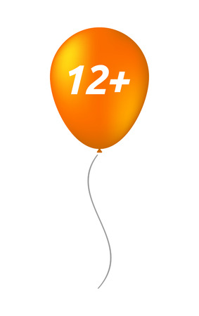 number twelve: Illustration of an isolated balloon with    the text 12+ Illustration