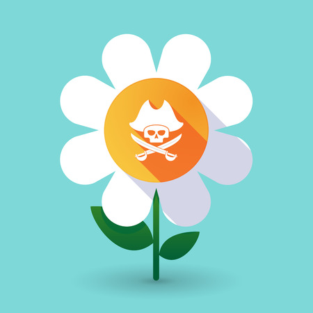 Illustration of a long shadow daisy flower with a pirate skull