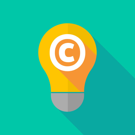 ight: Illustration of a long shadow ight bulb icon with    the  copyright sign Illustration