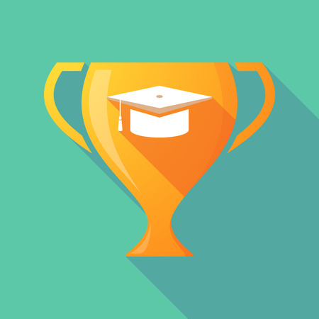 Illustration of a long shadow gold award cup with a graduation cap Illustration