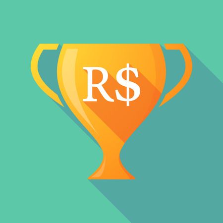 real trophy: Illustration of a long shadow gold award cup with a brazillian real currency sign