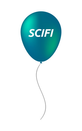 speculative: Illustration of an isolated balloon with    the text SCIFI Illustration