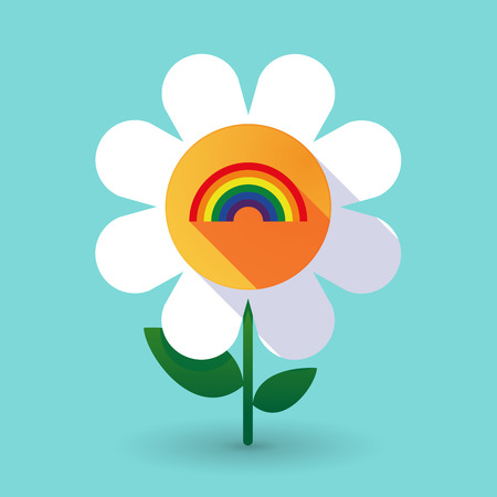 Illustration of a long shadow daisy flower with a rainbow