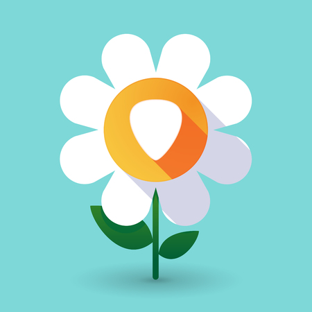 plectrum: Illustration of a long shadow daisy flower with a plectrum