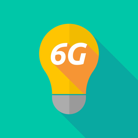 ight: Illustration of a long shadow ight bulb icon with    the text 6G Illustration