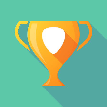 plectrum: Illustration of a long shadow gold award cup with a plectrum Illustration