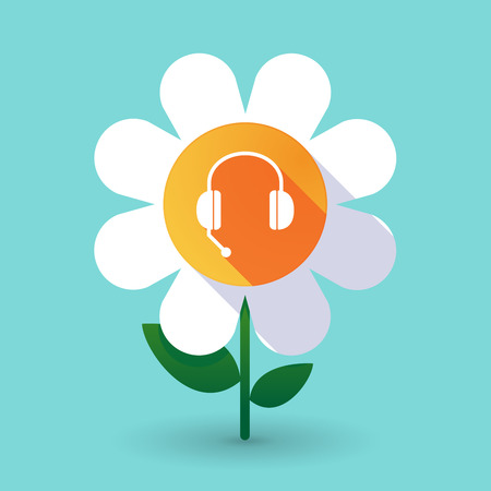 hands free phone: Illustration of a long shadow daisy flower with  a hands free phone device Illustration