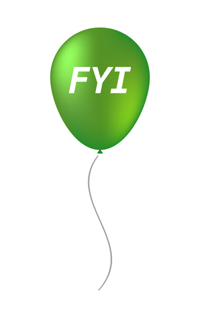Illustration of an isolated balloon with    the text FYI