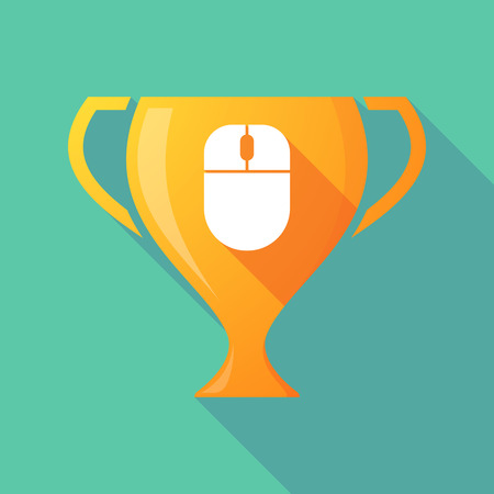 Illustration of a long shadow gold award cup with a wireless mouse