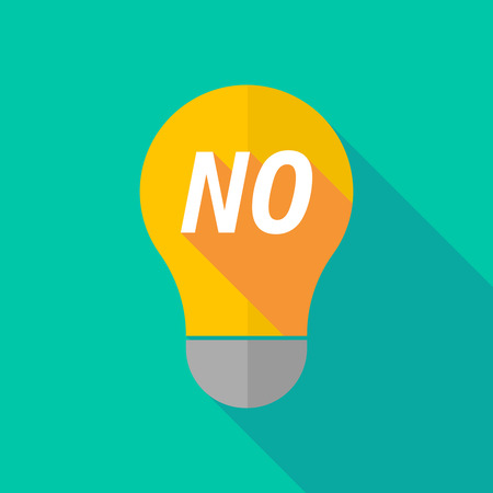 ight: Illustration of a long shadow ight bulb icon with    the text NO