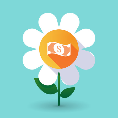 Illustration of a long shadow daisy flower with a dollar bank note