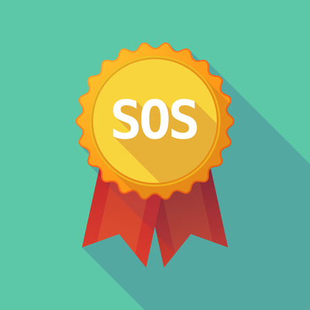 Illustration of a long shadow badge with    the text SOS